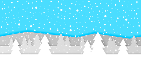 Simple seamless paper cut winter vector landscape with layered mountains, trees and falling snowflakes on blue background.