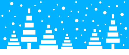Simple seamless paper cut winter vector landscape with stylized low poly trees and falling snowflakes on blue background.