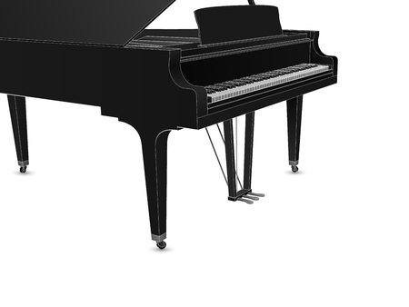 Beautiful realistic detailed grand piano vector in black color with white outlines.