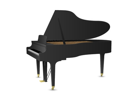 Beautiful realistic detailed colorful shaded black grand piano vector.