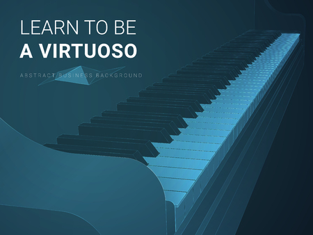 Abstract modern business background vector depicting virtuosity in shape of a piano keyboard on blue background. Фото со стока - 126959093