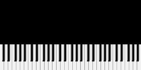 Top view of simplified flat monochrome piano keyboard on black background. Фото со стока - 126959095