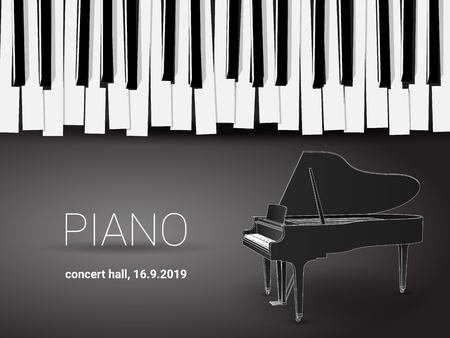 Beautiful monochrome piano concert invitation card with simple stylized piano keyboard and 3d grand piano outline drawing.