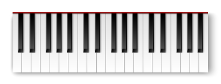 Top view of realistic detailed shaded piano keyboard. Фото со стока - 126871061