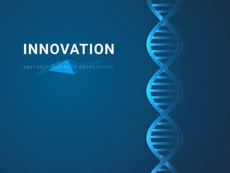 Abstract modern business background depicting innovation in shape of a DNA double helix on blue background. Фото со стока - 126833338