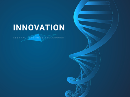 Abstract modern business background depicting innovation in shape of a DNA double helix on blue background.