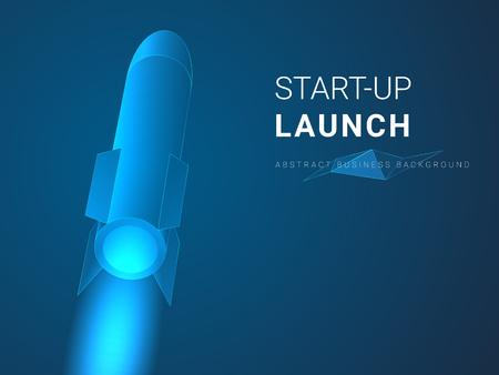 Abstract modern business background depicting startup launch in shape of a rocket ship on blue background.