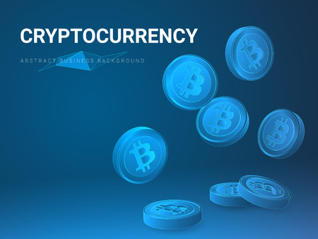 Abstract modern business background vector depicting cryptocurrency sin shape of falling bitcoins on blue background. Фото со стока - 126815751