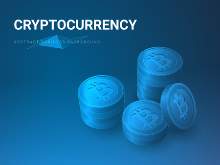 Abstract modern business background vector depicting cryptocurrency sin shape of piles of bitcoins on blue background.