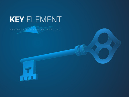 Abstract modern business background vector depicting importance in shape of a key on blue background.