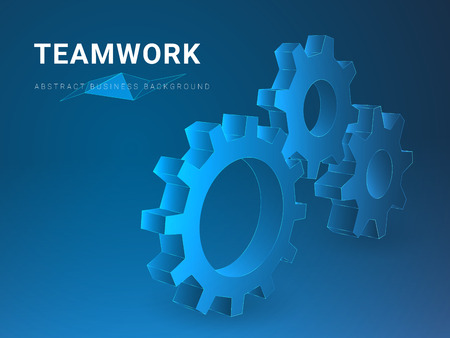 Abstract modern business background vector depicting teamwork in shape of cogwheels on blue background.