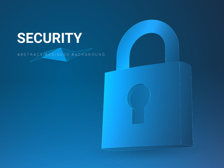 Abstract modern business background depicting security in shape of a padlock on blue background.