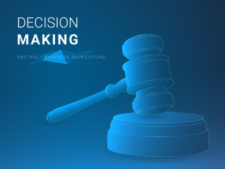 Abstract modern business background vector depicting decision making in shape of a jury hammer on blue background.