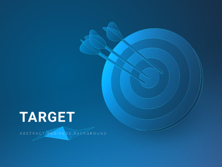 Abstract modern business background depicting target in shape of a circular target with an arrow on blue background.