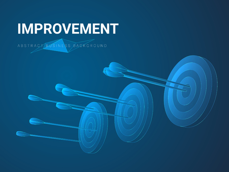 Abstract modern business background depicting improvement in shape of three circular targets with increasingly better aimed arrows on blue background.