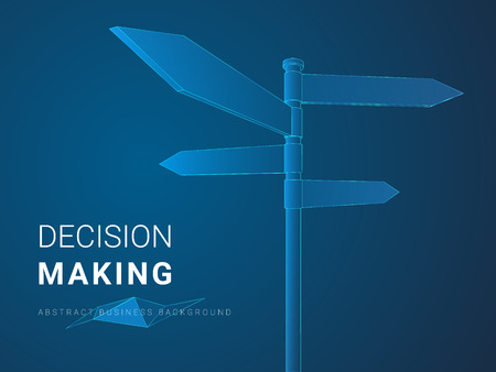 Abstract modern business background vector depicting decision making in shape of tourist pointers on blue background.