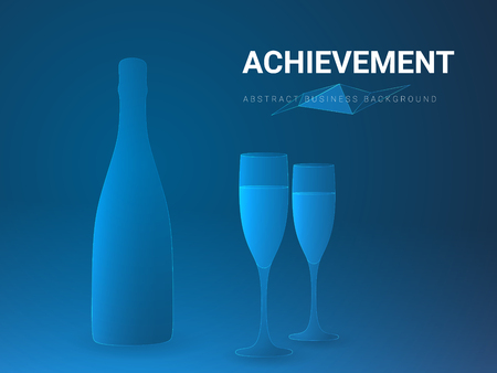 Abstract modern business background vector depicting achievement in shape of a champagne wine with two glasses on blue background. Иллюстрация