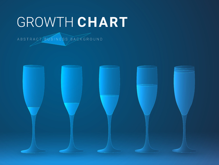 Abstract modern business growing chart in shape of increasingly full champagne glasses on blue background.