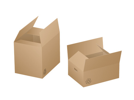 Two beautiful realistic brown carton paper boxes vector on white background.