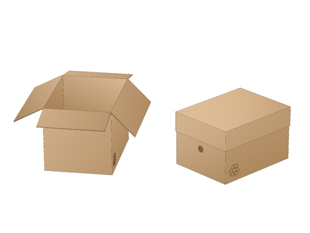Two beautiful realistic brown carton paper boxes vector with outlines on white background.