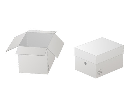 Two beautiful realistic white carton paper boxes vector with outlines on white background.