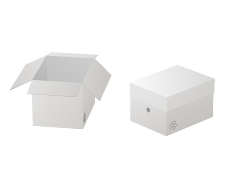 Two beautiful realistic white carton paper boxes vector on white background.