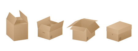 Vector collection of four beautiful realistic brown carton paper boxes on white background.