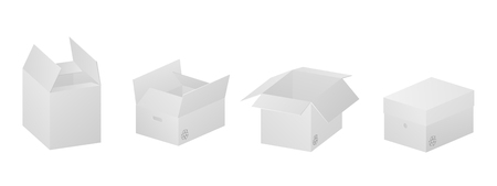 Vector collection of four beautiful realistic white carton paper boxes on white background.