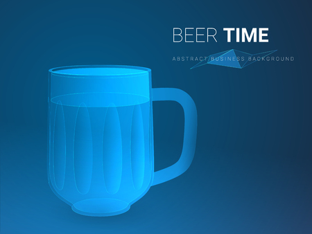Abstract modern business background vector depicting beer time in shape of beer mug on blue background.