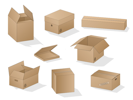 Vector collection of beautiful shaded realistic brown carton paper boxes with outlines on white background.