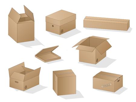 Wektor zbiory pięknych zacienionych realistycznych brązowych pudełek kartonowych z konturami na białym tle.