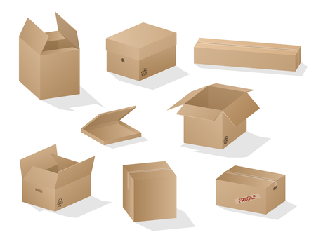 Vector collection of beautiful shaded realistic brown carton paper boxes on white background. Иллюстрация