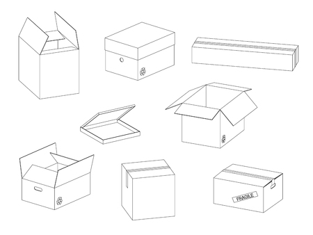 Vector collection of carton paper boxes outlines on white background. Фото со стока - 126499221