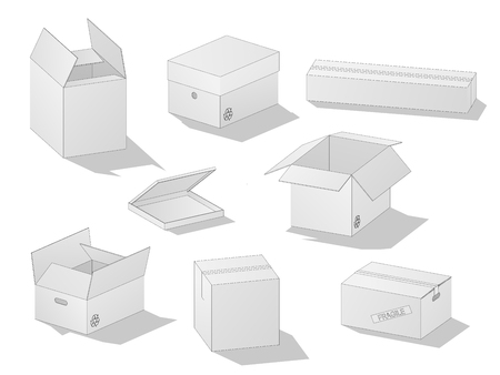 Vector collection of beautiful realistic white carton paper boxes with outlines on white background. Иллюстрация