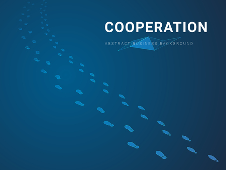Abstract modern business background vector depicting cooperation in shape of double footsteps going together the same way on blue background.