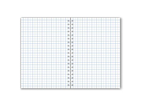 Detailed vector square paper notebook with circular binding. Иллюстрация