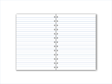 Detailed vector paper notebook with lines and circular binding. Иллюстрация
