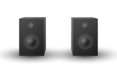 Front view vector of realistic modern black shaded audio speakers on white background. Фото со стока - 126410535