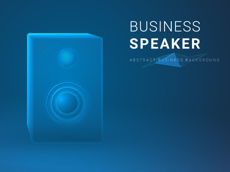 Abstract modern business background vector depicting business speaker in shape an audio speaker on blue background.