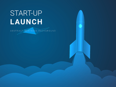 Abstract modern business background vector depicting startup launch in shape of a rocket ship taking off on blue background.