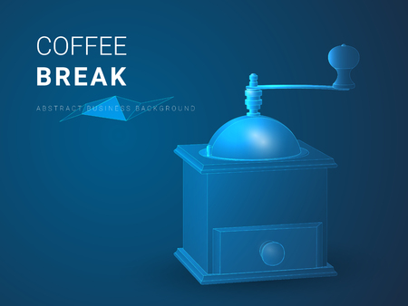 Abstract modern business background vector depicting coffee break in shape of a vintage coffee grinder on blue background.
