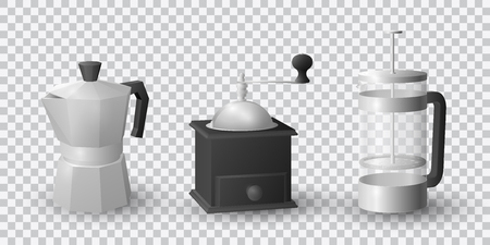 Realistic vector set of beautiful italian aluminium coffee mocca kettle, french press coffee maker and a black vintage coffee grinder on transparent background. Фото со стока - 126353073