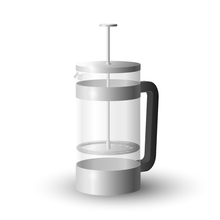 Realistic vector of beautiful steel and glass french press coffee maker. Иллюстрация