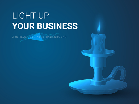Abstract modern business background vector depicting lighting up your business in shape of a burning candle with a candlestick on blue background. Çizim
