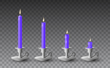 Beautiful vector set of gradually burned realistic purple candles on metal candlesticks on transparent background.