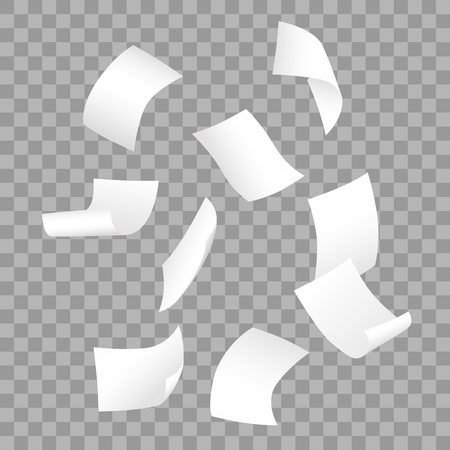 Simple vector of falling white blank papers on transparent background.