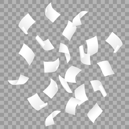 Simple vector of falling white blank papers on transparent background. Фото со стока - 126239483