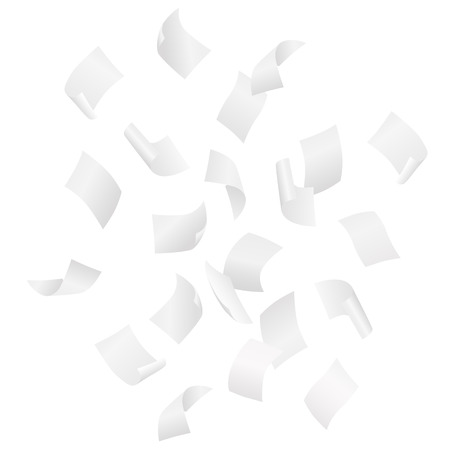 Simple vector of falling white blank papers on white background. Иллюстрация
