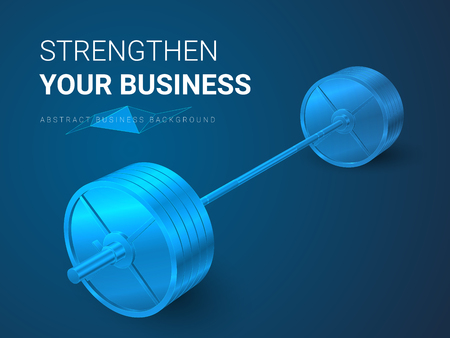 Abstract modern business background vector depicting strengthening your business in shape of a barbell on blue background.