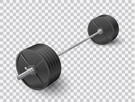 Beautiful realistic perspective view fitness vector of a barbell with black iron plates on transparent background. Иллюстрация